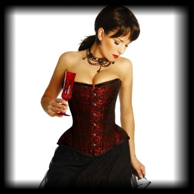 Taft Corsage Tafetta rot/schwarz