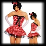 Damen Kleid Minnie Mouse rot/weiß/schwarz