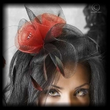 Fascinator red rose on black