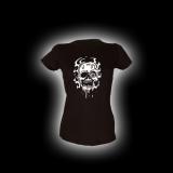 Flow Skull - Damen Girlie-Shirt mit Rundhalsausschnitt