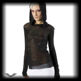 Queen of Darkness - Damen Long Sleeve Chiffon Shirt mit Skull schwarz