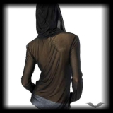 Queen of Darkness - Damen Long Sleeve Chiffon Shirt mit Skull schwarz